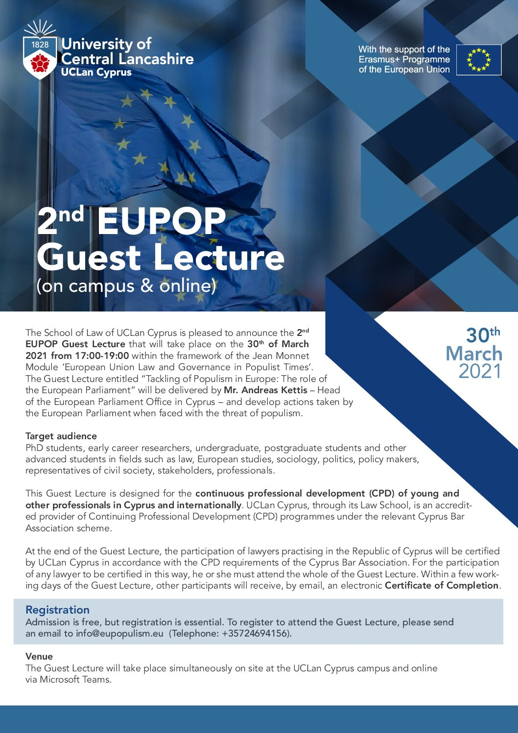 "Guest Lecture: ""Tackling Populism in Europe: The role of the European Parliament: (30 March 2021)"
